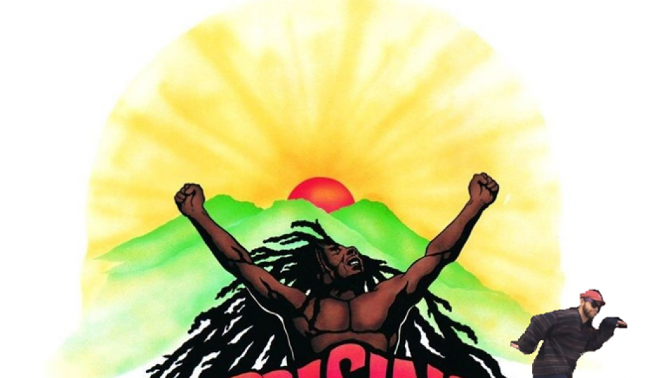 Tony dancing on Bob Marley album cover