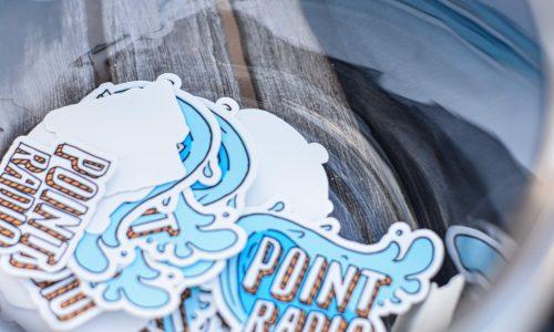 bowl of point radio stickers Point Radio Staff
